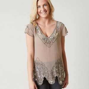 New Women's BKE Boutiques Embellished Top Shear Se